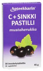 Apteekkarin C+ Sinkki pastilli mustaherukka X30 kpl
